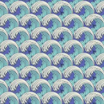 Tula Pink Zuma White Caps Waves Surf Sea Ocean Wave Aquamarine Cotton Fabric