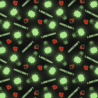 Mojang Minecraft Level Up Black Hearts Geometric Multi Gamers Video Game Cotton Fabric