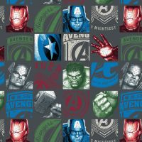Marvel Avengers Charcoal Hero Block Superhero Character Thor Hulk Captain America Iron Man Cotton Fabric