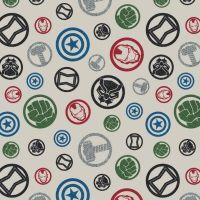 Marvel Avengers Hero Emblem Cream Character Badges Logo Superhero Cotton Fabric