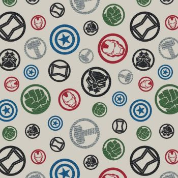Marvel Avengers Hero Emblem Cream Character Badges Logo Superhero Cotton Fabric