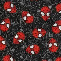 Spider-Man Marvel Spiderman Web Black Head Toss Superhero Faces Cotton Fabric