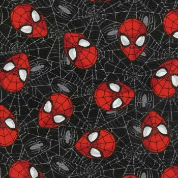 Spider-Man Marvel Spiderman Web Black Head Toss Superhero Faces Cotton Fabric