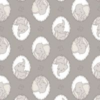 Disney Classics Dumbo Frames in Zinc Sketch Baby Elephant Nursery Cotton Fabric