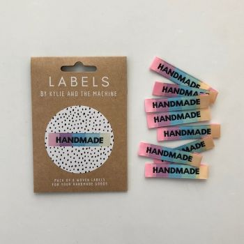 """Kylie and the Machine """"HANDMADE"""" Rainbow Woven Labels 8 Pack"""