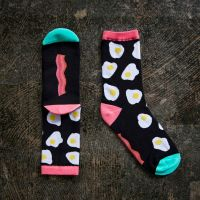 Bacon and Eggs Ruby Star Society One Size Fits Most Cotton Blend Socks by Kimberly Kight