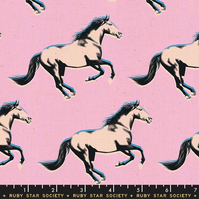 Darlings 2019 Mustang Gold Metallic Peony Horse Ruby Star Society Cotton Fa