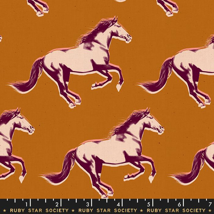 Darlings 2019 Mustang Gold Metallic Saddle Horse Ruby Star Society Cotton F