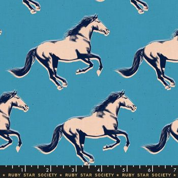 Darlings 2019 Mustang Vintage Blue Horse Ruby Star Society Cotton Fabric