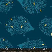 Darlings 2019 Prickles Dark Teal Gold Metallic Hedgehog Ruby Star Society Cotton Fabric