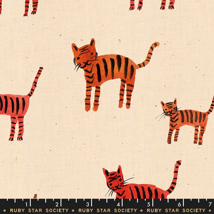 Darlings 2019 Tiger Stripes Orange Ruby Star Society Cotton Fabric