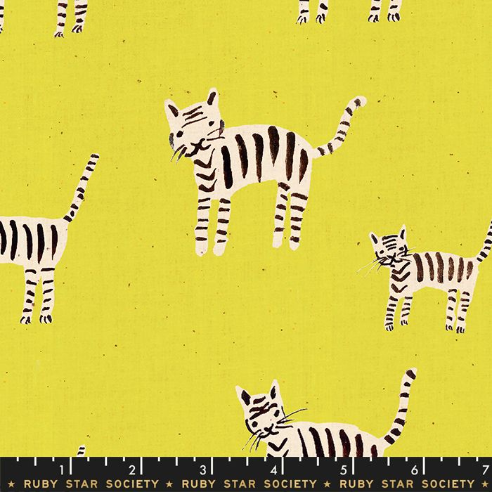 Darlings 2019 Tiger Stripes Citron Ruby Star Society Cotton Fabric