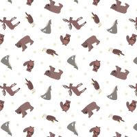 Small Things World Animals North American on White Cotton Fabric