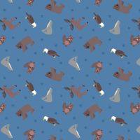 Small Things World Animals North American on Soft Blue Cotton Fabric