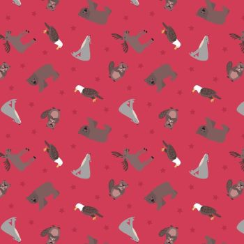 Small Things World Animals North American on Soft Red Cotton Fabric