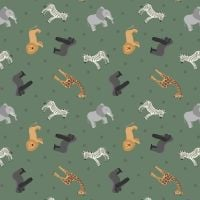 Small Things World Animals African Animals on Safari Green Cotton Fabric