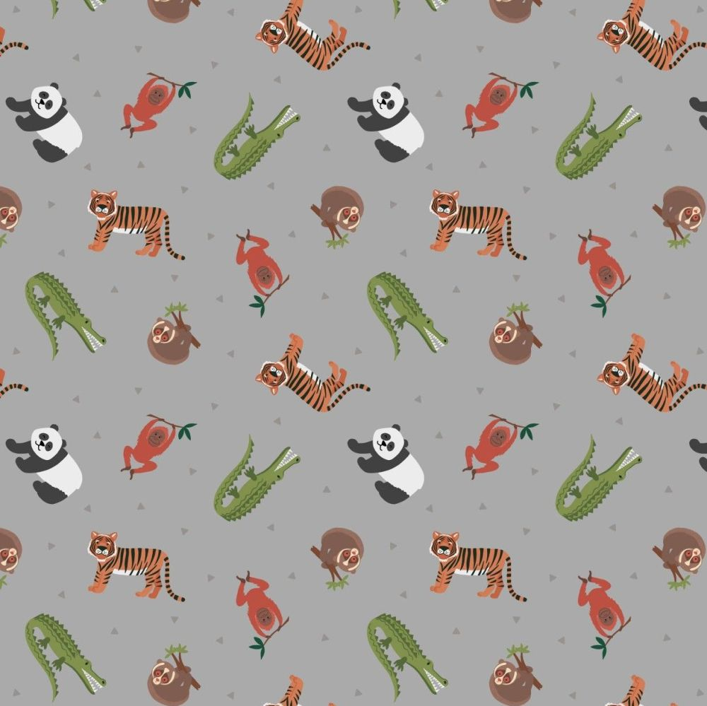 Small Things World Animals Asian Animals on Bamboo Green Cotton Fabric