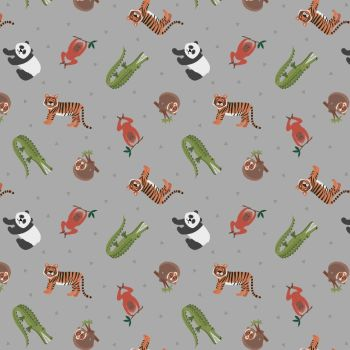 Small Things World Animals Asian Animals on Grey Cotton Fabric