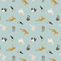 Small Things World Animals South American Animals on Blue Cotton Fabric