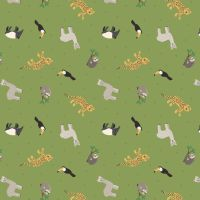 Small Things World Animals South American Animals on Rainforest Green Cotton Fabric