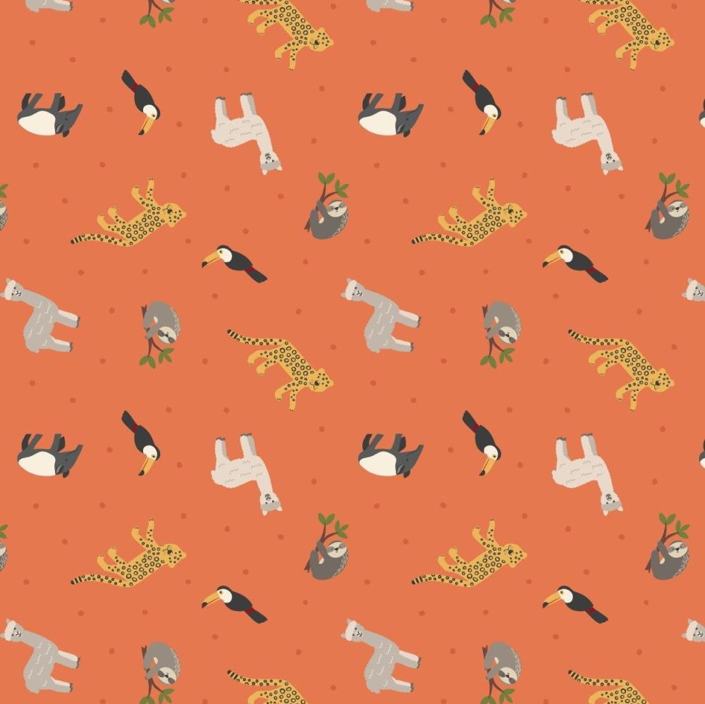 Small Things World Animals South American Animals on Orange Cotton Fabric
