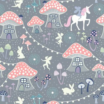 Fairy Nights Mushroom Village Grey Glow In The Dark Woodland Unicorn Rabbit Cotton Fabric