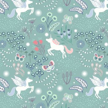 Fairy Nights Unicorn Meadow on Soft Teal Blue Glow In The Dark Woodland Butterfly Floral Cotton Fabric