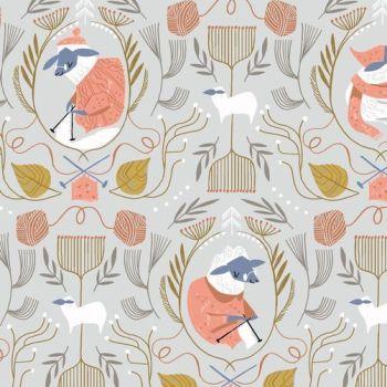 Sheepish Knitters in Oatmeal Sheep Knitting Floral Yarn Balls Rae Ritchie Dear Stella Cotton Fabric