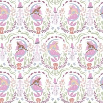 Sea Spell Mermaid Toile in White Jellyfish Mermaids Rae Ritchie Dear Stella Cotton Fabric