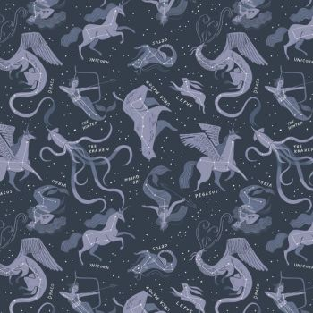 Sea Spell Constellations in Blueberry Star Space Rae Ritchie Dear Stella Cotton Fabric