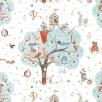 Treehouse Animal Scenic Woodland Trees Fox Rabbit Badger Squirrel Dear Stella Cotton Fabric
