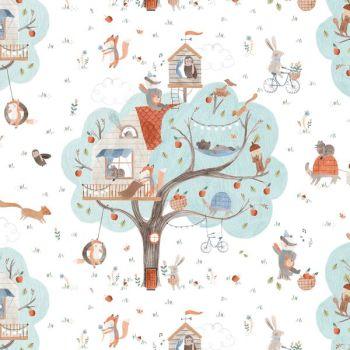 Treehouse Animal Scenic Woodland Trees Fox Rabbit Badger Squirrel Dear Stella Cotton Fabric