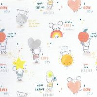 Shine Bright Mouse Mice Stars Text Hearts Moons Dear Stella Cotton Fabric