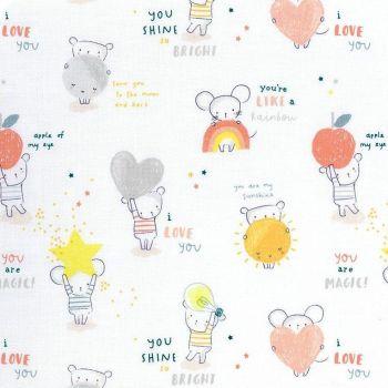 Shine Bright Mouse Mice Stars Text Hearts Moons Dear Stella Cotton Fabric