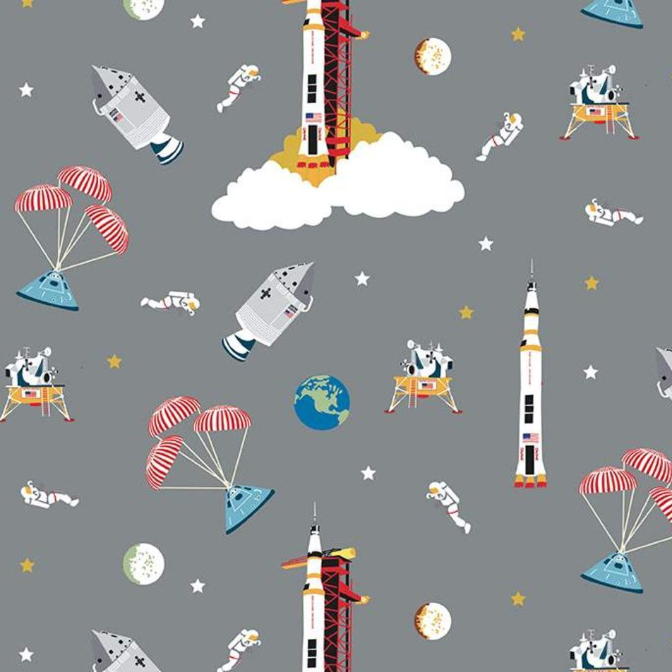 NASA Apollo 11 The Eagle Has Landed Gray Space Shuttle Apollo Cotton Fabric