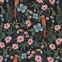 Rifle Paper Co Parrots Toucans Menagerie Paradise Garden Midnight Parrot Toucan Botanical Cotton Fabric