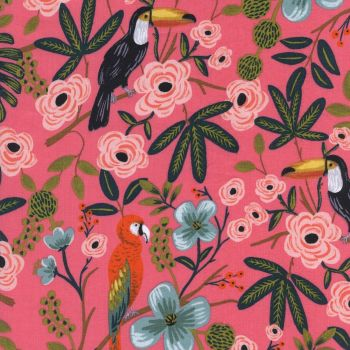Rifle Paper Co Paradise Garden Coral Parrots Toucans Menagerie Rayon Cotton Lawn Fabric