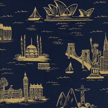 Rifle Paper Co Les Fleurs City Toile Metallic Gold Navy World Landmark Travel Vacation Holiday Adventure Cotton Lawn Fabric