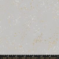 Speckled Dove Grey Metallic Gold Spatter Texture Ruby Star Society Cotton Fabric