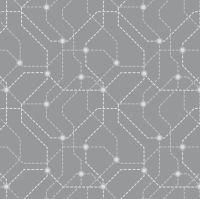 DESTASH 2.6m City Nights Underground Silver Geometric Metallic Map Lines Abstract Cotton Fabric