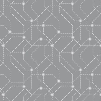 DESTASH 2.6m City Nights Underground Silver Geometric Metallic Map Lines Abstract Cotton Fabric