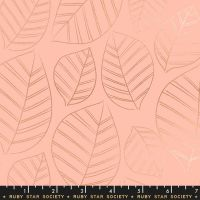 Aviary Leafy Peach Leaves Metallic Botanical Ruby Star Society Cotton Fabric