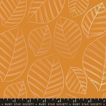 Aviary Leafy Caramel Leaves Metallic Botanical Ruby Star Society Cotton Fabric