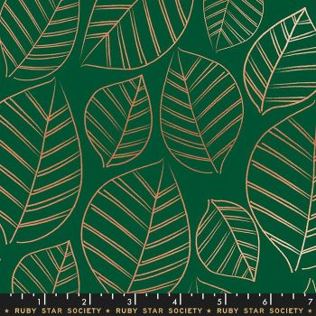 Aviary Leafy Jade Green Leaves Metallic Botanical Ruby Star Society Cotton Fabric