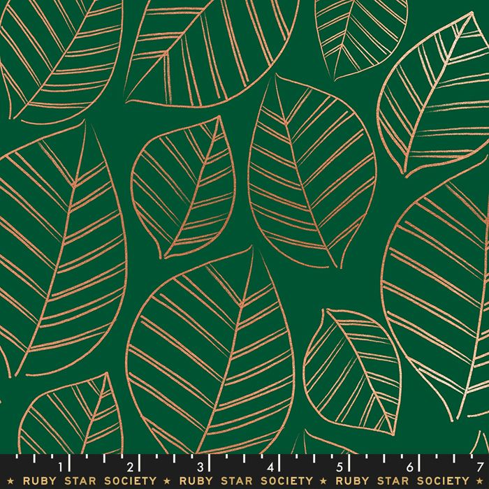 Aviary Leafy Jade Green Leaves Metallic Botanical Ruby Star Society Cotton