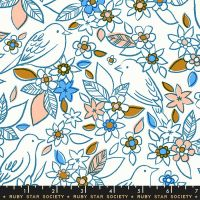 DESTASH 1.7m Aviary Botanical Chambray Blue Bird Floral Flower Birds Ruby Star Society Cotton Fabric