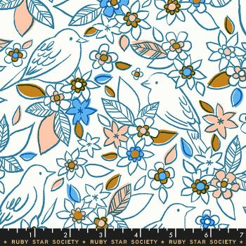 Aviary Botanical Chambray Blue Bird Floral Flower Birds Ruby Star Society Cotton Fabric