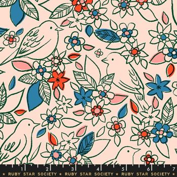 Aviary Botanical Pale Peach Bird Floral Flower Birds Ruby Star Society Cotton Fabric