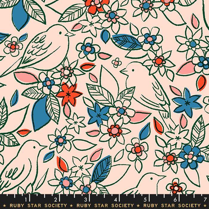 Aviary Botanical Pale Peach Bird Floral Flower Birds Ruby Star Society Cott