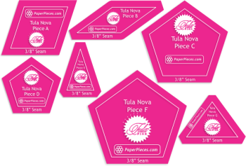 "Tula Pink Tula Nova 7 Piece Acrylic Fabric Cutting Templates with 3/8"" Seam Allowance"